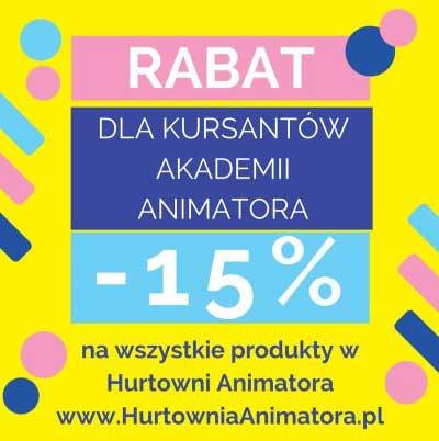 15 % RABATU dla Kursantów Akademii Animatora